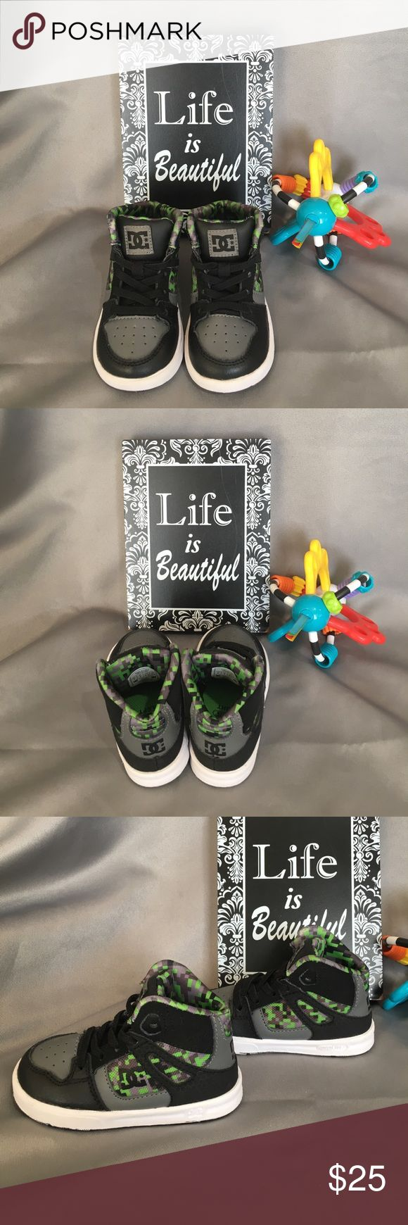 DC Skate Hightop Baby Shoes DC Skate high top baby shoes. Excellent used condition. Only worn a few times.  The bottoms have white on them that make it look as if unpainted them, however that is how they came. Bundle #113 DC Shoes Baby & Walker