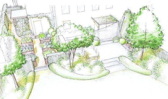 Jardin de lotissement croquis terrasse arri re dessin for Croquis jardin paysager