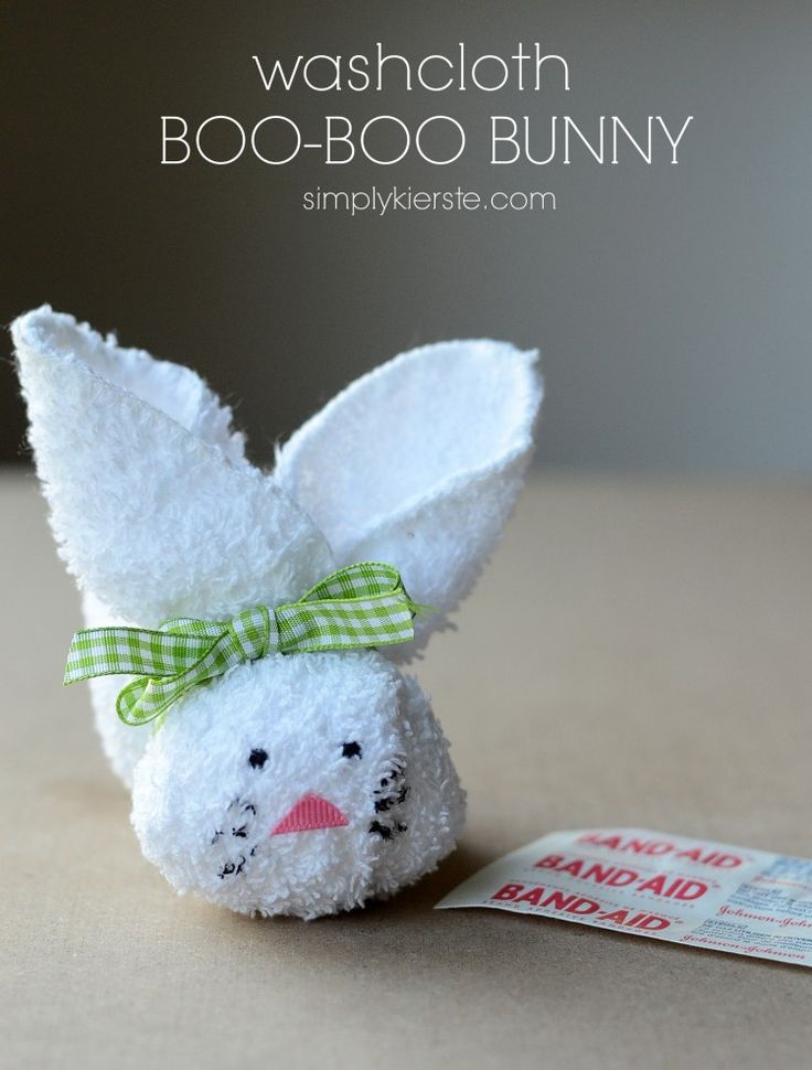 washcloth boo boo bunny | Cute idea for the kids!