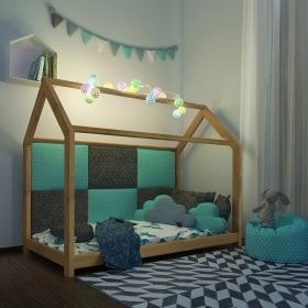 Vicco VICCO Kinderbett 90x200 cm Kinderhaus Massivholz Bett Kinder Haus Schlafen Spielbett Hausbett | Oskar-Store