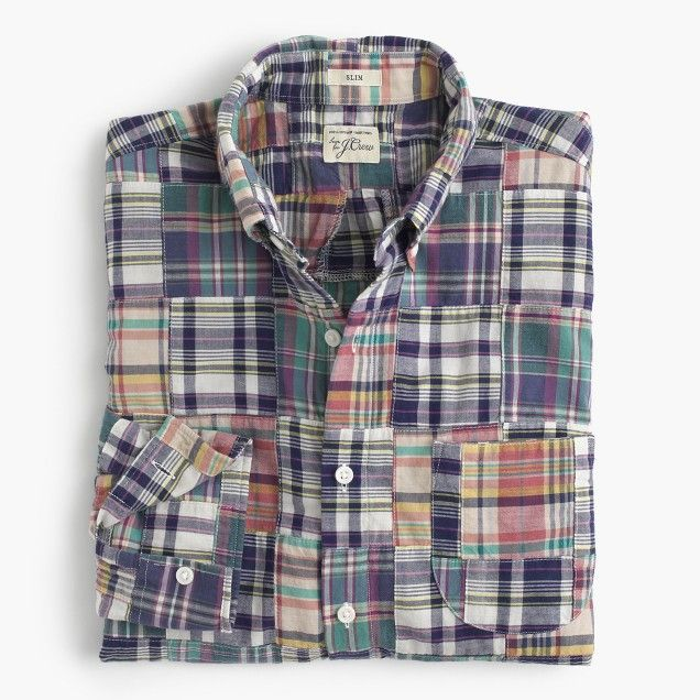 Slim Indian madras shirt in patchwork