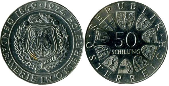 50 Scellini polizia austriaca d'argento