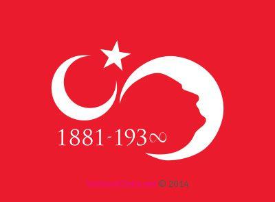Vektörel Çizim | 10 Kasım, Ay Yıldız ve Atatürk Silüeti