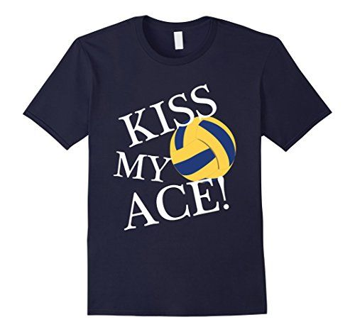 Men's Volleyball T-shirt: Kiss my ACE! 2XL Navy MarvilGri…