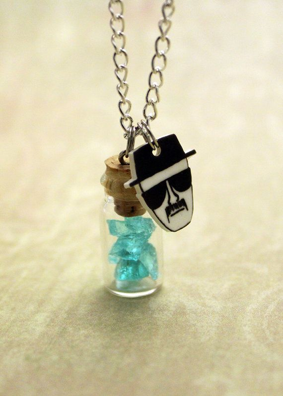 Blue Sky Pendant Bottle necklace, inspired by Breaking Bad.    Necklace features a 1 tall mini glass bottle filled with blue sky and a Heisenberg