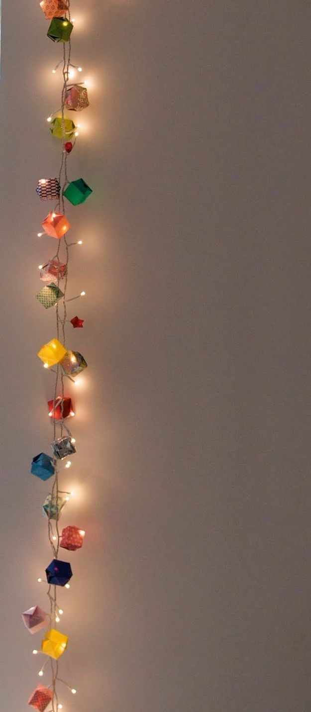 String Light DIY ideas for Cool Home Decor -Origami Garland Hanging Lights for Teens Room, Dorm, Apartment or Home