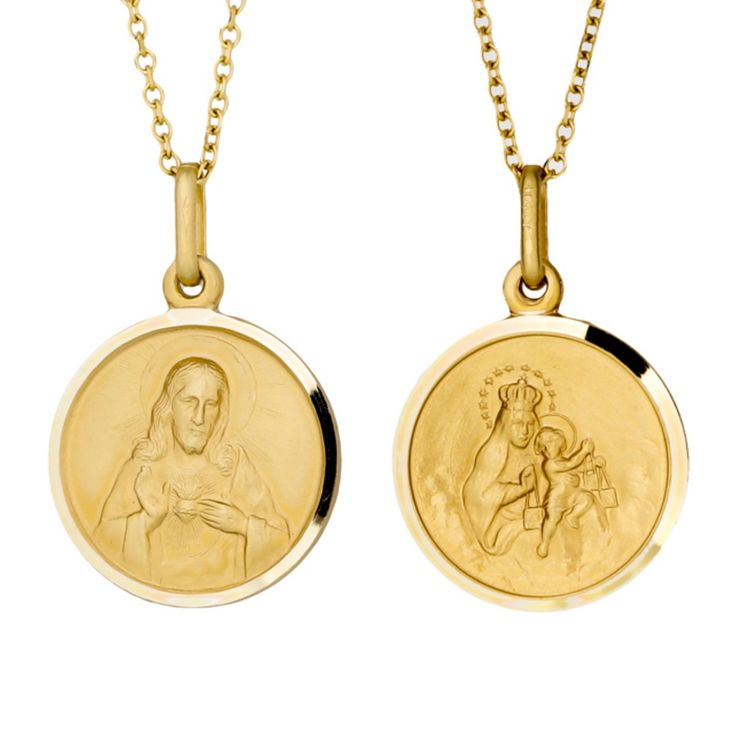 9kt Yellow Gold Scapular Medal Depicts The Sacred Heart Of Jesus On The Obverse And Our Lady Of Mount Carmel On The Rev In 2020 Tous Jewelry St Michael Medal Scapular