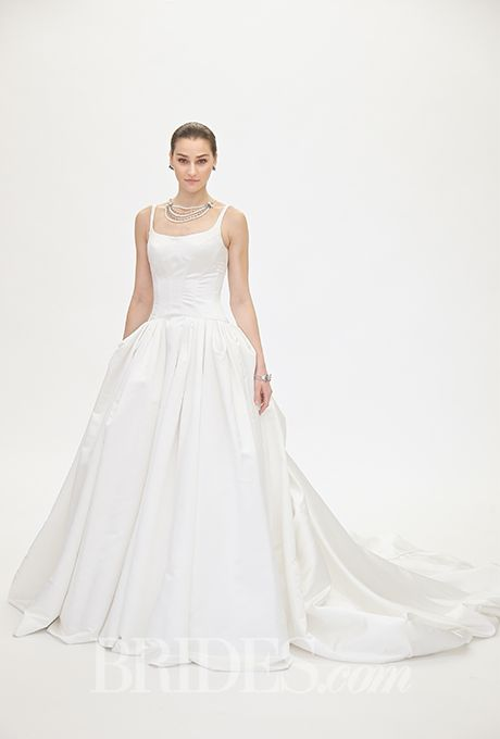 Brides.com: . Trend: Corset Bodices. Sleeveless satin ball gown wedding dress with a scoop neckline Truly Zac Posen