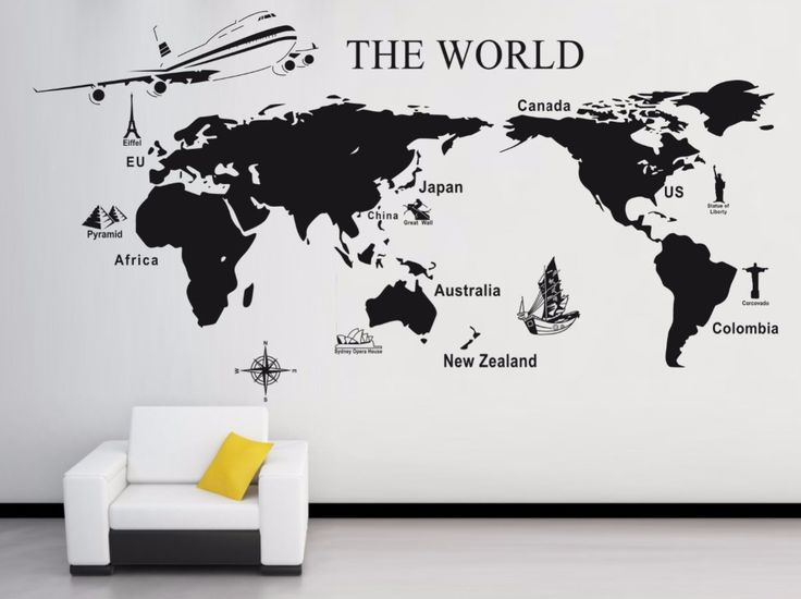 M s de 25 ideas fant sticas sobre etiquetas de pared de for Vinilo mapa del mundo