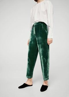 Velvet pleated trousers