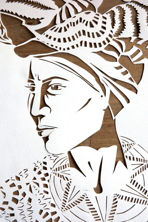 Original handmade papercut portrait of a woman by WhisperingPaper