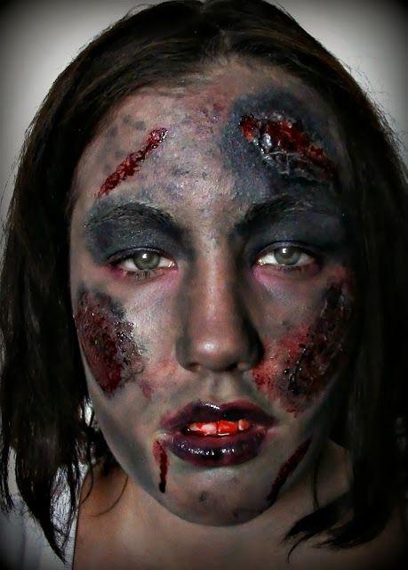 A creepy zombie makeup look here: http://la-creme-chantilly.blogspot.hu/2013/10/zombify-yourself.html