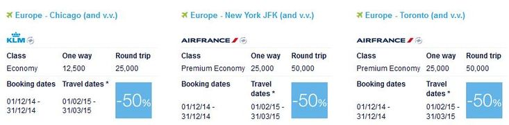 Air France / Flying Blue / KLM promo awards for December - Chicago to Europe for 12,500 miles! - http://www.pointswithacrew.com/air-france-flying-blue-klm-promo-awards-december-chicago-europe-12500-miles/