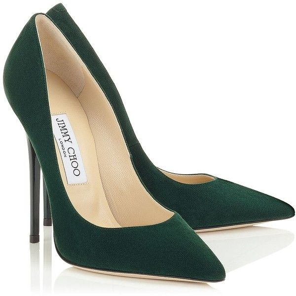 Anouk ($460) ❤ liked on Polyvore featuring shoes, pumps, heels, sapatos, green, suede pointed toe pumps, green heel shoes, pointed-toe pumps, pointy-toe pumps and pointed toe shoes
