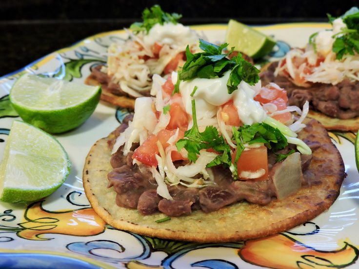 Bean Tostadas | Tostadas de Frijoles. Perfect for Cinco de Mayo!!! #vegan #vegetarian #mexican #spanish #cincodemayo #food #yum #foodie #veganfood #healthy