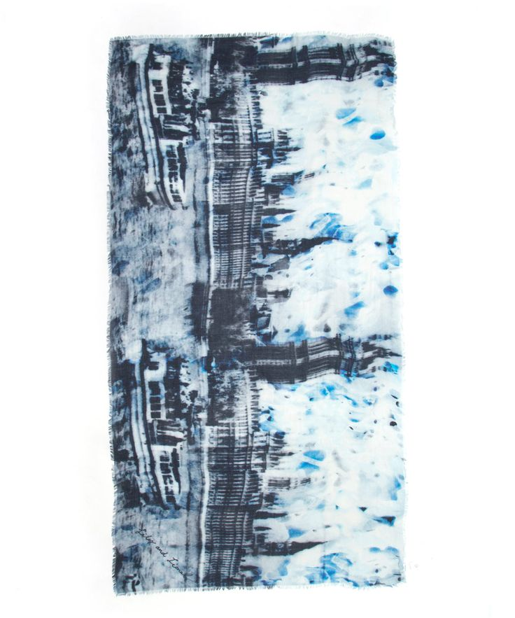 Lily and Lionel Navy London Skyline Printed Silk-Blend Scarf | Accessories | Liberty.co.uk