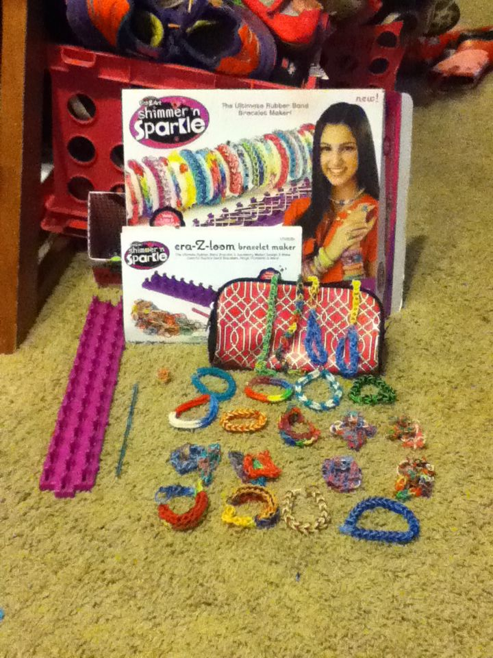Crazy loom bracelet maker. My daughter and her friends love these right now!
