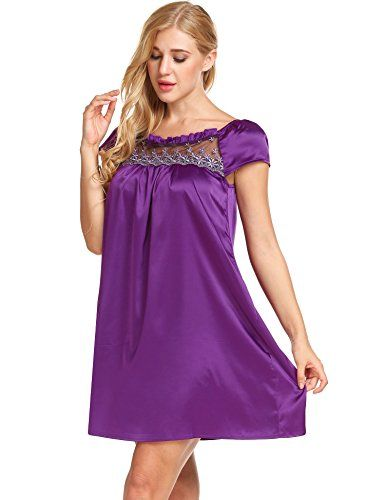 65f9099ef44d Ekouaer Women Sleepshirt Short Sleeve Nightgown Lace-Trim Soft Sleepwear  Slip Dress
