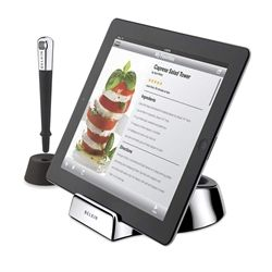 iPad Chef Stand + Stylus :::: Made especially for use in the kitchen, the Chef Stand + Stylus gives you the freedom to interact with your tablet while you cook—without worrying about touching your device with messy hands. The case-compatible stand has a non-slip rubber base and two different angles that are ideal for countertop use.