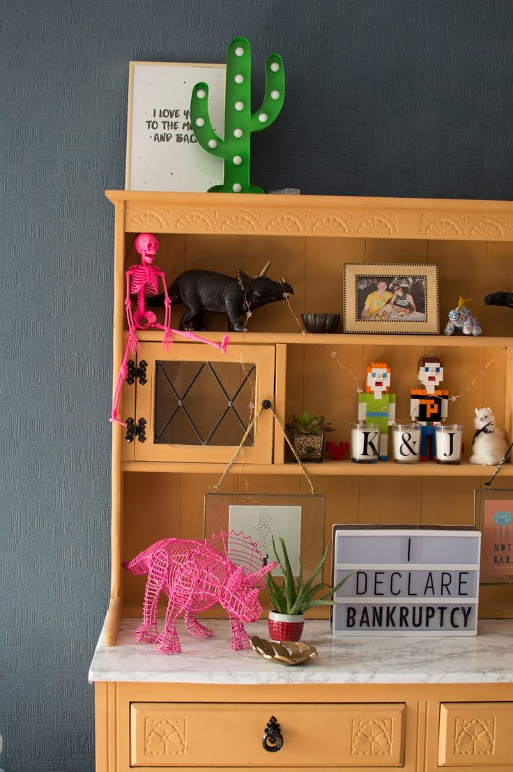 Upcycled orange dresser with quirky shelfie