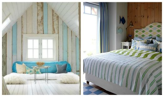 Love the powder blue - this could be a great beach theme style... I like how a few panels of wood are painted blue. Beautiful concept. ~L
