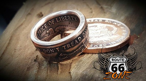 1754 Don't Tread On Me, The Price Of Liberty Handcrafted 1oz Copper Coin Ring