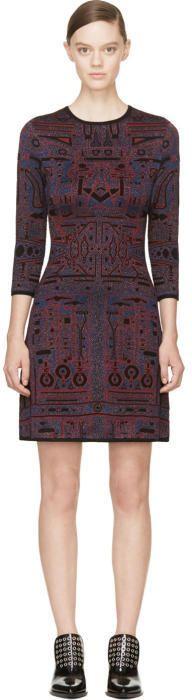 Mary Katrantzou Blue and Red Metallic Knit Toolbox Dress
