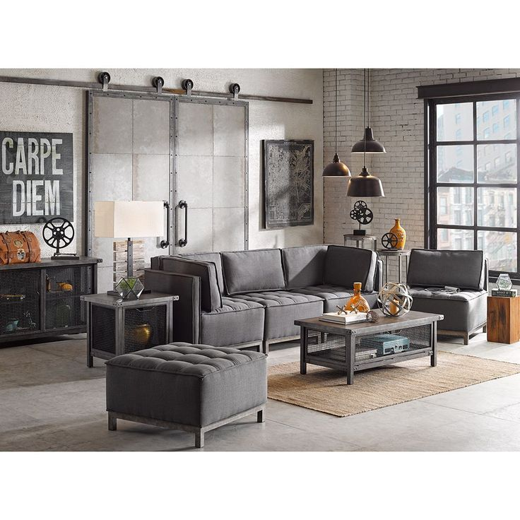Ink+ivy Grant Grey and Silver Sectional Square Ottoman (30.125Lx30.125Dx18.89H-Grey/ Silver), Size Medium (Foam)