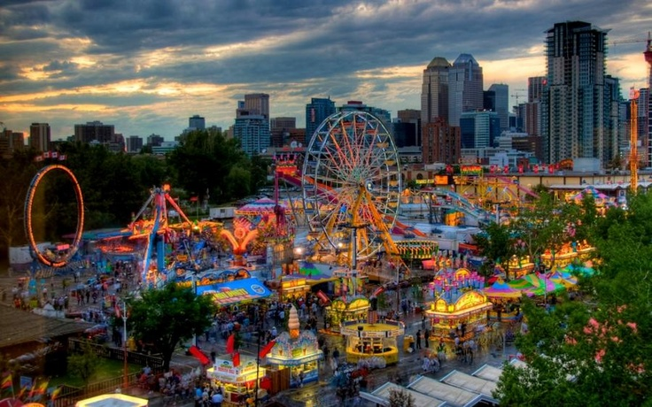 The Calgary Stampede at sunset -