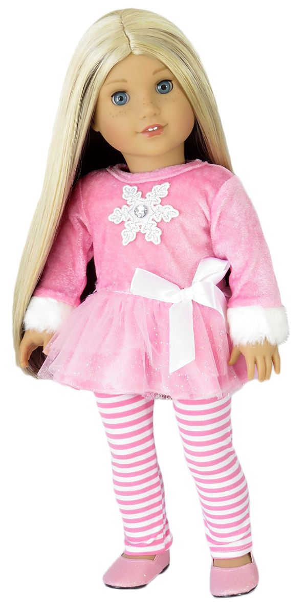 American Girl Doll Clothes - Silly Monkey - Let it Snow Pink Dress and Striped Leggings, $16.00 (http://www.silly-monkey.com/products/american-girl-doll-snowflake-dress-and-leggings.html)