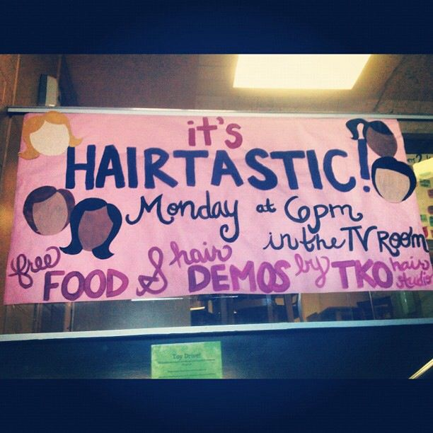 Hairtastic program- Bring in a salon/stylist to talk about different hair textures and care routines. Promotes diversity and unity in an all female hall! #RA #program #reslife