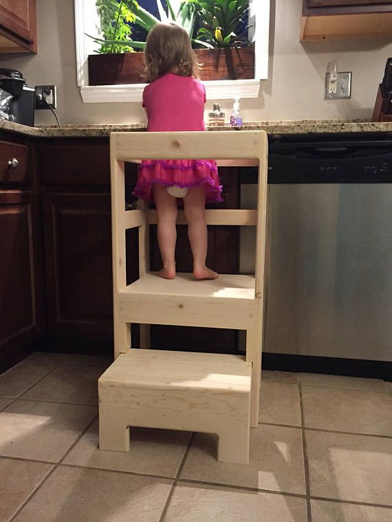 Sensational Natural Pine Childrens Kitchen Play Safety Helper Step Beatyapartments Chair Design Images Beatyapartmentscom
