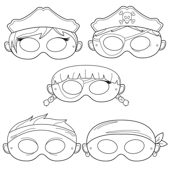 Pirates DIY Printable Black and White Line Art Masks