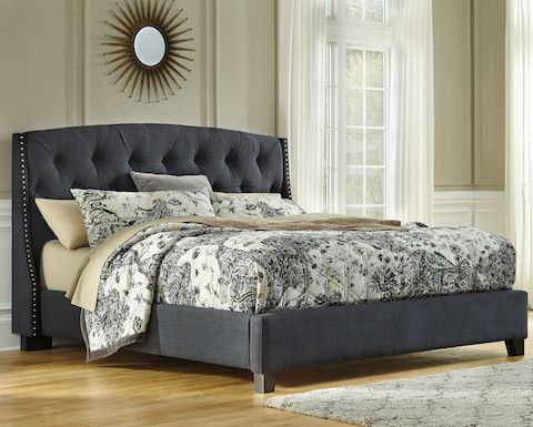 Ashley B600-5 Kasidon Queen Upholstered Bed Frame in Dark Gray with Tufting and Nailhead Trim