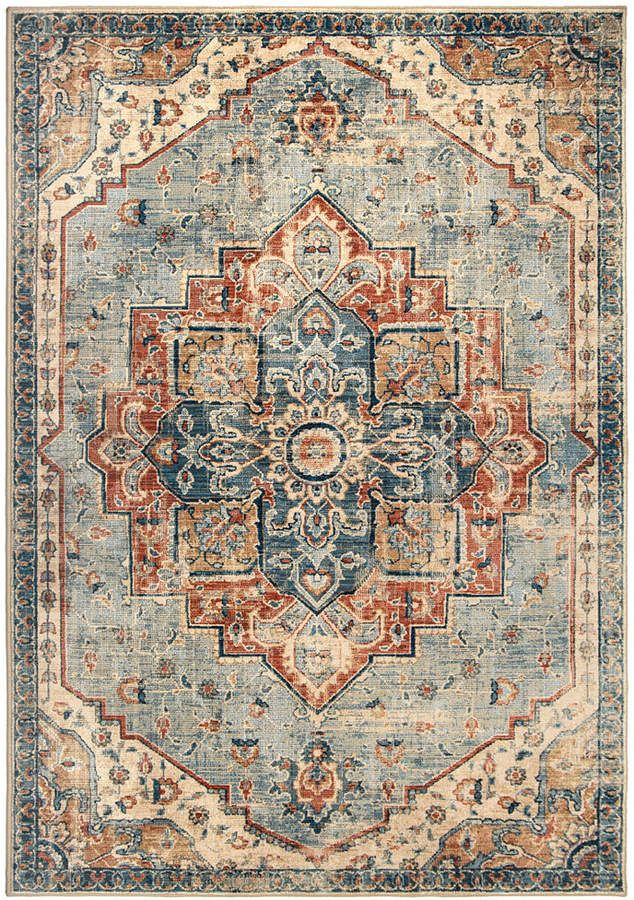 Palmetto Living Alexandria King Fisher Pale Blue 5 1 Fringe Rugs Rugs Usa Medallion Rug