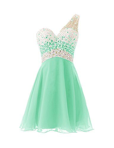 One Shouder Homecoming Dress with Beadings Short Bridesmaid Dress