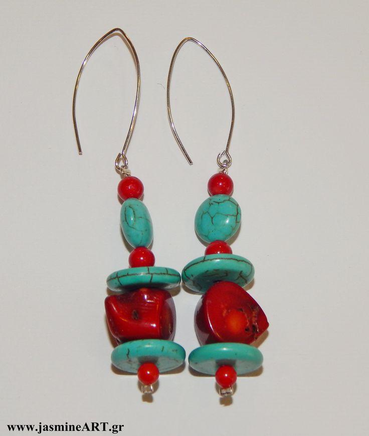 Σκουλαρίκια κόκκινο κοράλλι και τυρκουάζ