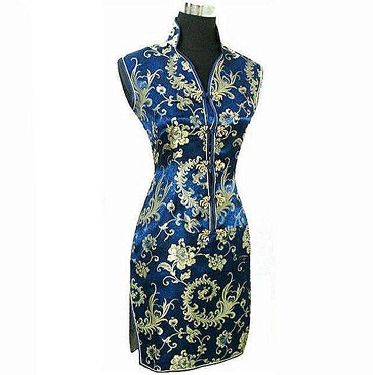 البحرية الأزرق المرأة الصيف اللباس الصينية التقليدية الحرير الحرير شيونغسام مثير الرقبة تشيباو الزهور الحجم sml xl xxl xxxl WC013