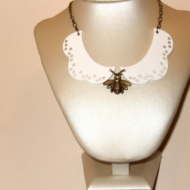 Collar Necklace Peter Pan Bee Insect White Shrink Plastic Lace Look Delicate Spring Fashion. £16.00, via Etsy.