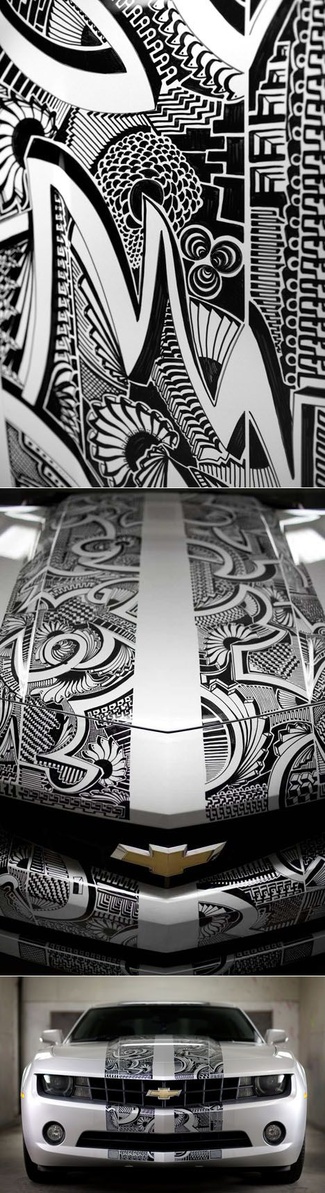 Elaborate illustration on a car body ... done in permanent marker!