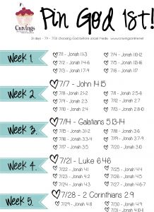 "Pin God 1st! - Cravings ""Pin God 1st is our daily challenge to choose God before social media. Use this calendar and read just a few verse each day BEFORE you check on any updates. That means if you can't do Bible reading till 10:30 a.m., 2 p.m. or 10 p.m. then you can't check social media till AFTER your reading is done. My guess is you will figure out how to get your Bible reading done."""