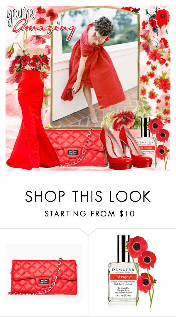 """""""Amazing Red"""" by lucky-ruby ❤ liked on Polyvore featuring Yanina, DailyLook, Demeter Fragrance Library, Gucci and red"""