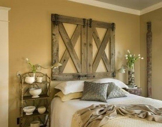 45 Inspiring Rustic Bedroom Design Ideas : 45 Cozy Rustic Bedroom Design Ideas With White Brown Bed Pillow Blanket Nightstand Lamp Flower Window Wooden Door