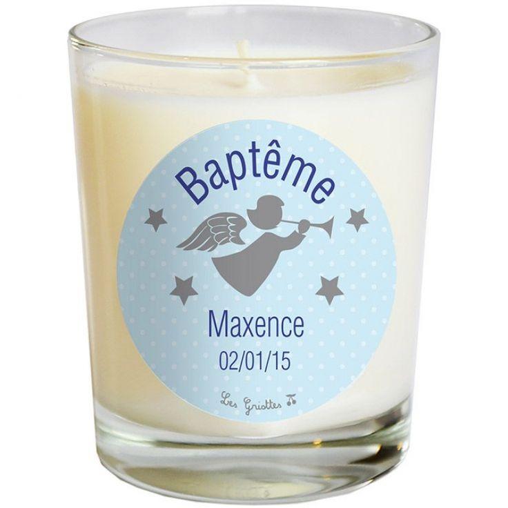 Bougie artisanale communion ou baptème ange bleu
