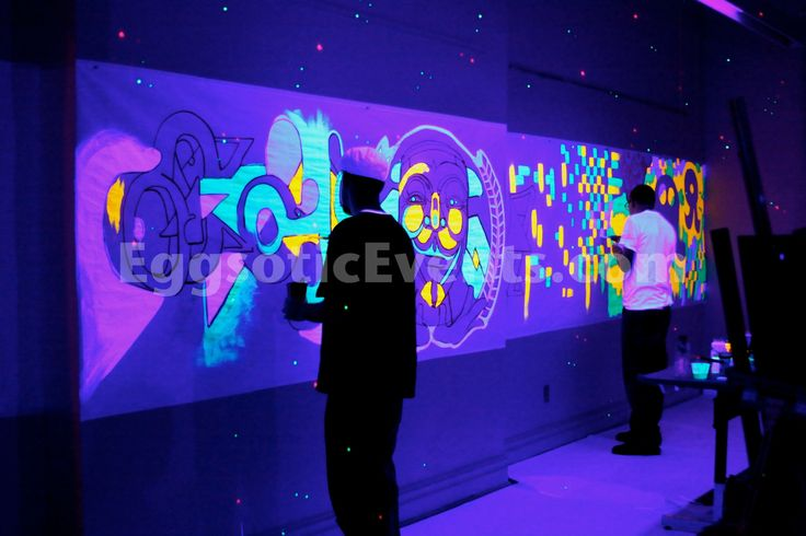 Glow in the dark mural animated wall mural for Black light mural