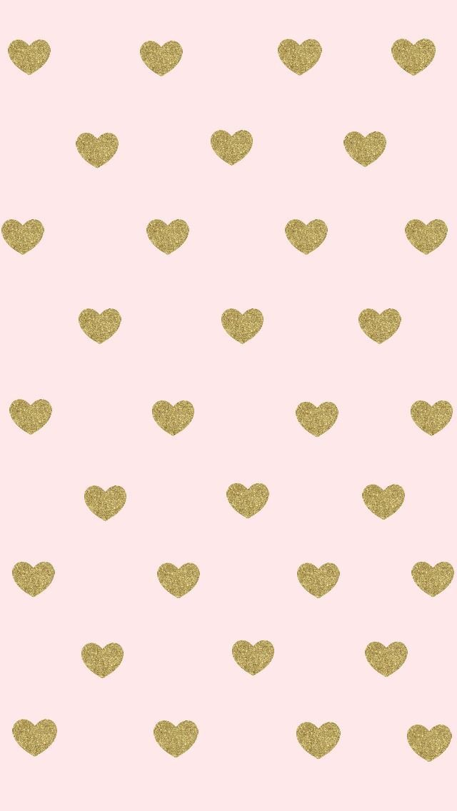 Pink and gold hearts iPhone wallpaper