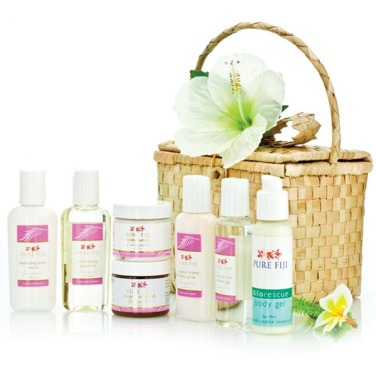 Pure Fiji Spa Basket | Includes a 60ml Exotic Oil, Hydrating Body Lotion, Sugar Rub, Dilo Rescue Gel, Body Butter, Creme Scrub and Shower Gel all packaged up in a cute basket.