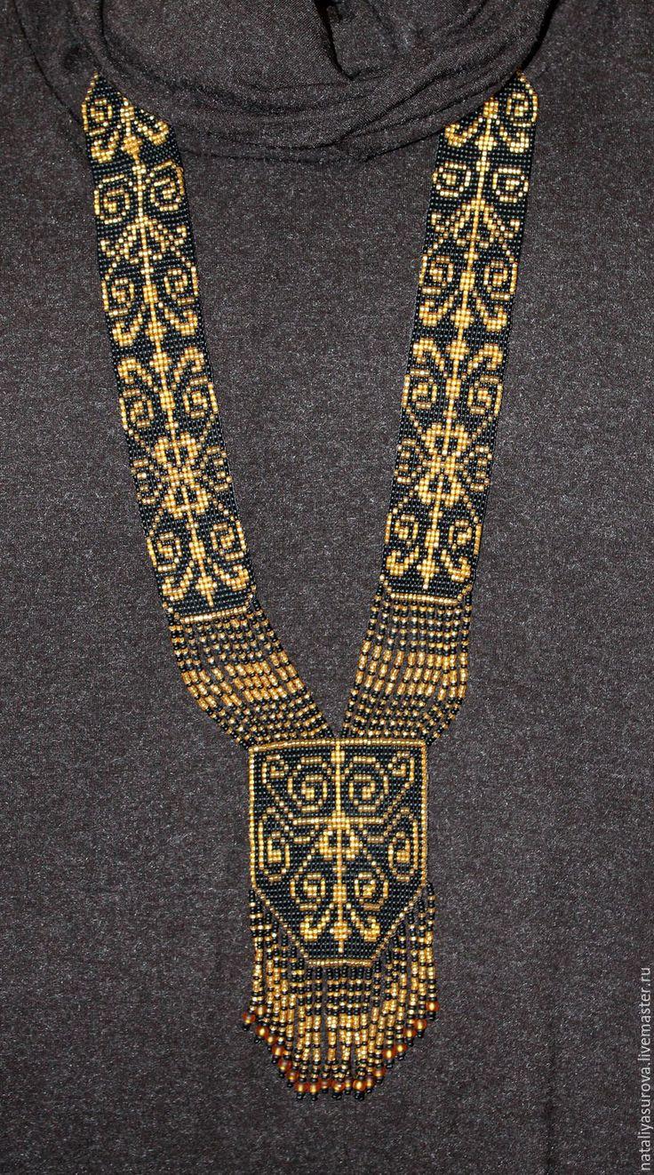 """Купить Гердан """"Славянка"""" - черный с золотом, украшения ручной работы, украшения из бисера, украшение в подарок"""