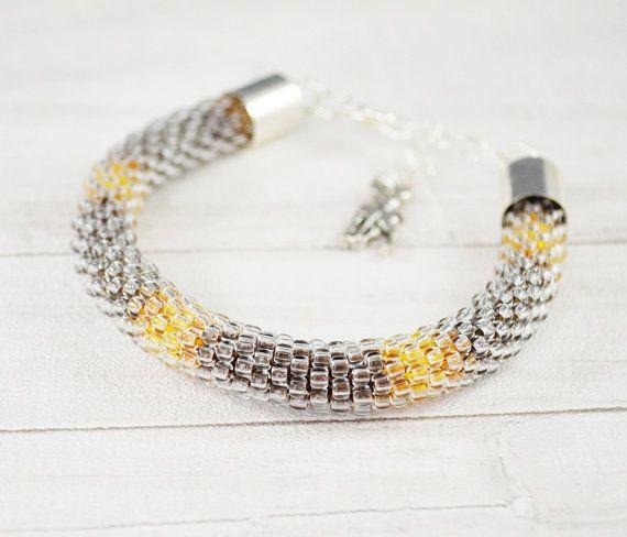 Seed beads bracelet brown bracelet shadow brown by SzkatulkaAmi