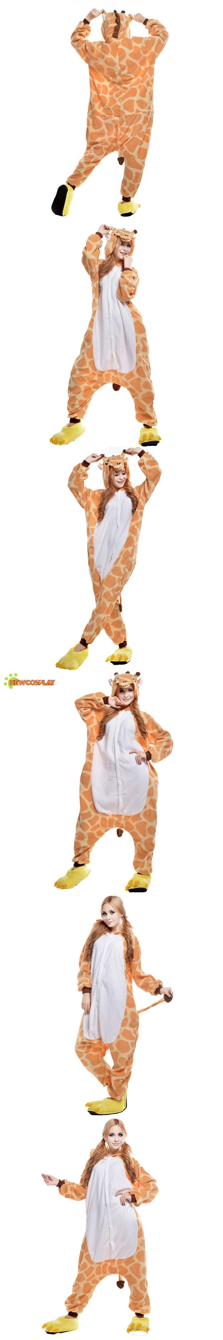 Newcosplay Anime Cosplay Costume Cartoon Giraffe Onesies Pajamas Cute Sleepwear Jumpsuit 2017 Unisex Cosplay Clothing